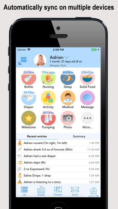 Baby Connect Activity Log Iphone App App Store Apps