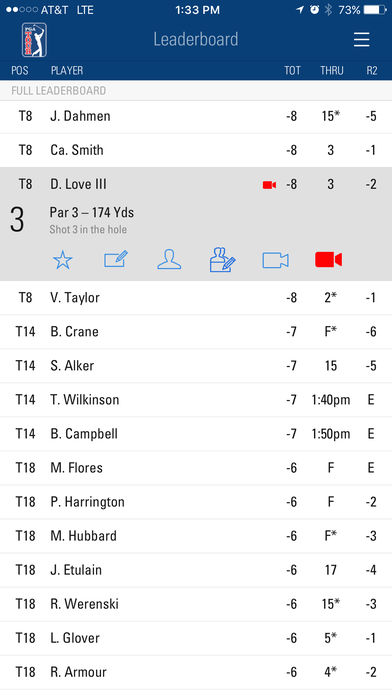 pga tour mobile iphone app