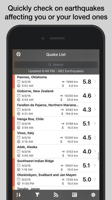 QuakeFeed Earthquake Alerts