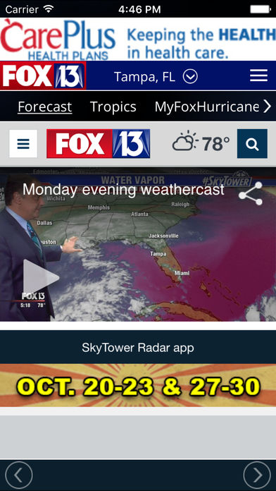 SkyTower Radar app from FOX 13