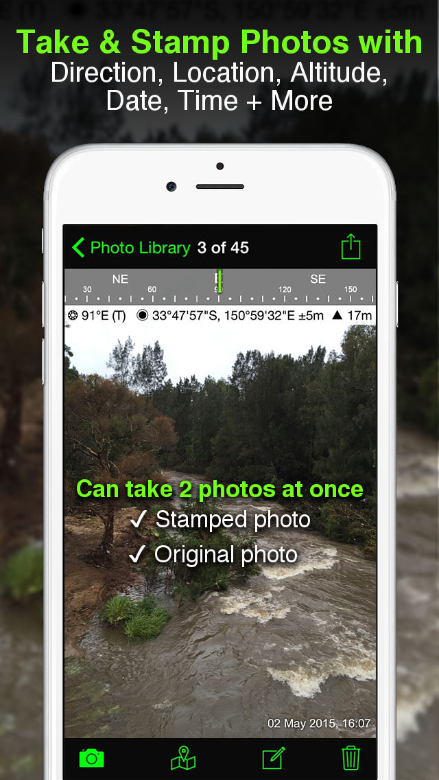Solocator – GPS Field Camera to stamp photos with location, direction, altitude, date, time + optional editable notes